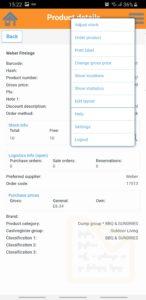 RetailVista Mobile - Product Information Hamburger menu